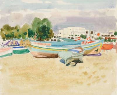 Morrocco  A  Boatsona Mediterranean Beach1972 Mixedmedia 66X68