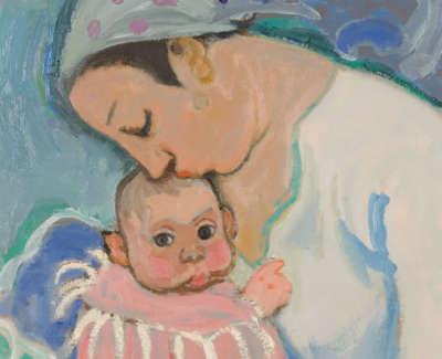 Morrocco  A  Motherand Child Annalisa Oiloncanvas1962 93X71