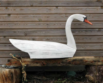 Malcolmson  A  Swan Carved,constructedandpaintedwood 63X123X33 1250