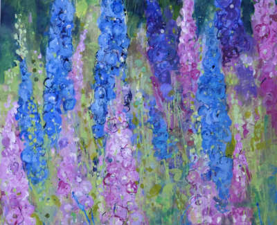 Oram  A  Blueand Pink Delphiniums Mixedmedia 76X56