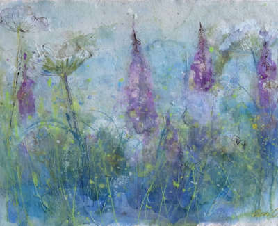 Oram  A  Mist Risingfromthe Field Edgewith Wllowherband Cow Parsley  Watercolourand Ink 30X42