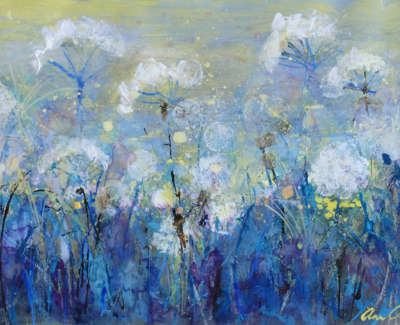Oram  A  Seed Heads Swayinginthe Breeze Grey Yellow Morning Mixedmedia 25X26