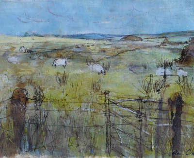 Oram  A  Sheep Grazingin Northumbria Mixedmedia 30X42