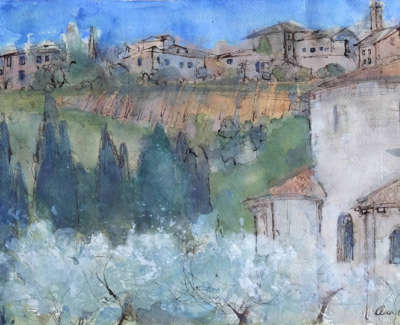 Oram  A  Tuscan Hill Villagewith Abbey Penandgouachekhadipaper 30X42