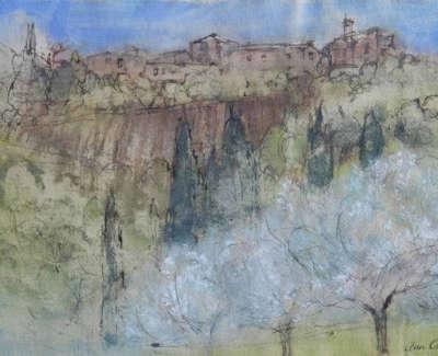 Oram  A  Tuscan Hill Villagewith Blossom Penandwashkhadipaper 30X42