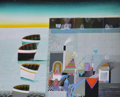 Dunbar Mc Intosh  Archie Rswrgi  Dawn Harbour Acryliconboard45 5X43Cm2800