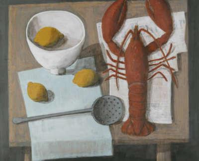 Trugg  A  Lobsterand Lemons Mixedmediaonpanel 50X50  Sold