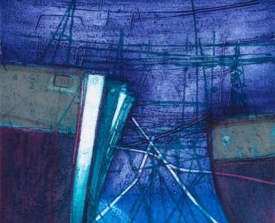 101 Rae Barbara Winter Harbour Aberdeen Scotland Collagraph 2015 59X59