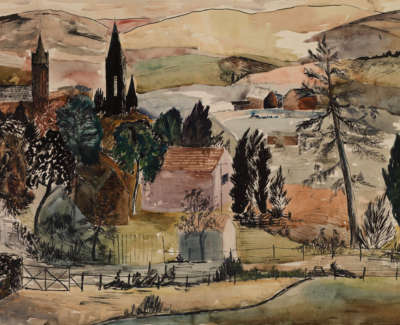 17 Rae Barbara Church Spire Crieff Inkandwatercolouronpaper195936X48