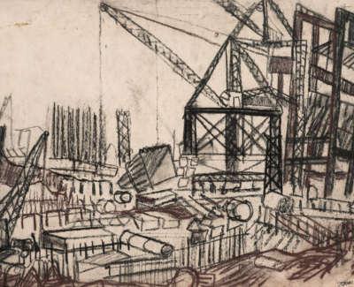 32 Rae Barbara Workyard Leith Pastelandcharcoalonpaper1964 39X53Cm