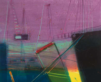 59 Rae Barbara Winter Harbour Monotype 2005 40X40