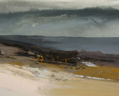 Bushe C Approaching Rain And Aflat Sea An Clachan Mixed Media 36X26