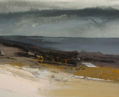 Bushe C Approaching Rain And Aflat Sea An Clachan Mixed Media 36X26