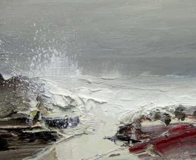 Bushe C Storm Tossed Sea Saligo Bay Oil On Board 36X26