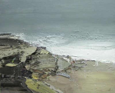 Bushe C Surge Tide Wet Rocks Islay Oil On Board 30X93