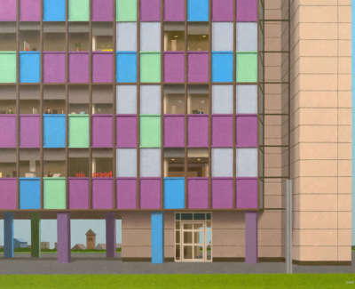 Evans  D  The Office Block Acryliconcanvas 60X82Cm 2300