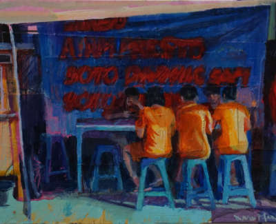 Martin  D  School Dinners Java Style Mixedmediaonboard 22X15 380