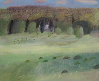 Pamphilon E Long Shadowsatthe Mill House Meadow Molehillsand Cowslips Mixedmedia On Canvas 100X120