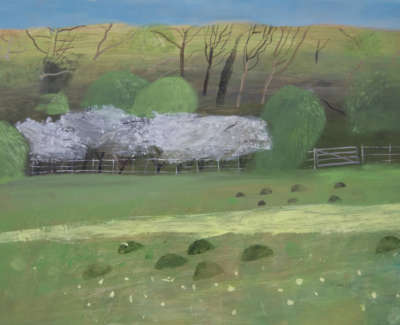 Pamphilon E The May Hedge Cowslipsand Mole Hillin The Nature Reserve Mixedmediaon Canvas 70X120