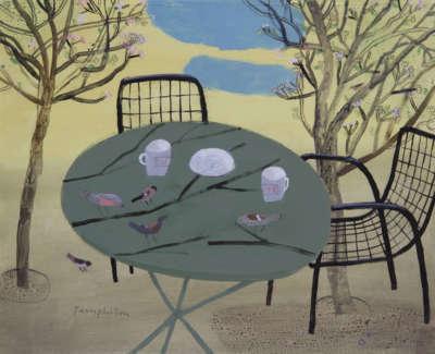 Pamphilon E Wild Flower Cafe Birds Flyingintothe Empty Table Mixedmediaonwoodenpanel 40X50