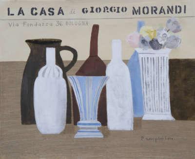 Pamphilon E La Casa Di Giorgio Morandi Mixedmedia On Woodenpanel 40X50