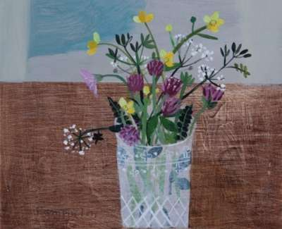 Meadow Flowers Mixed Media On Wood Panel 30 X 30 Cm £950 Uf