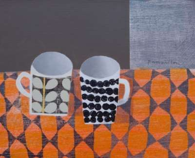 Two Mugs On Patterned Surface Mixed Media On Wood Panel 30 X 40 Cm