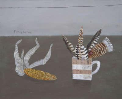 Pamhilon E Feathers Collectedonthe Shore Mixedmediaonwodenpanel 40X50