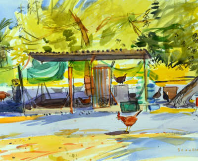 12 Scouller Glen Henhouse Bordeira Watercolour 53X71 2500