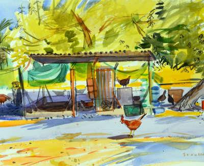 12 Scouller Glen Henhouse Bordeira Watercolour 53X71 2500