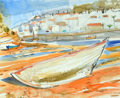 15 Scouller Glen Decaying Boat Ferragudo Watercolour 53X71 2500