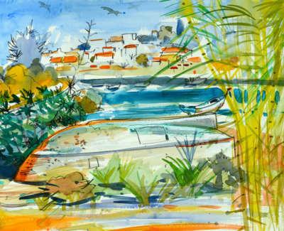 16 Souller Glen Upturned Boat Ferragudo Watercolour 53X71 2500