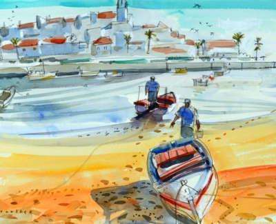 18 Scouller Glen Fishermen Ferragudo Watercolour 53X71 2500