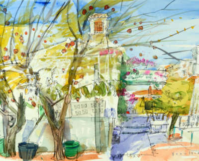 19 Scouller Glen Pomegranate Trees Palhagueira Watercolour 53X71 2500