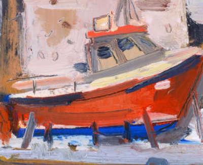 2 Scouller Glen St Abbs House Boat Oilonpanel 36X15 1250
