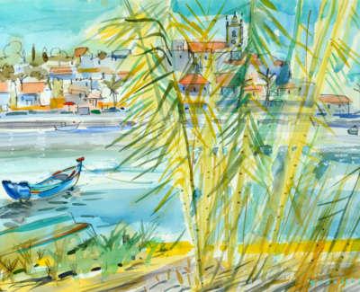 21 Scouller Glen Bambooand Boat Ferragudo Watercolour 53X71 2500