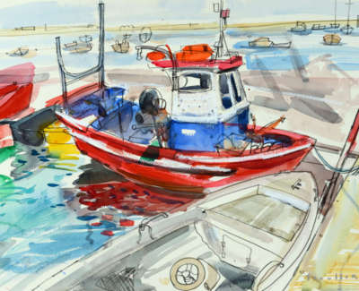 23 Scouller Glen Small Octopus Boat Santa Luzia Watercolour 53X71 2500