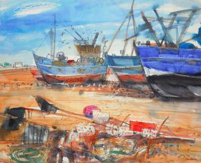 31 Scouller Glen Boatsand Brica Brac Hastings Watercolour 84X104 4000