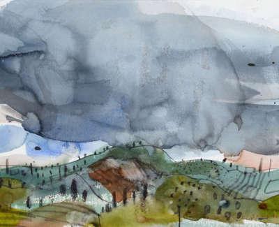 33 Scouller Glen Landscape Umbria Watercolour 34X49 1250