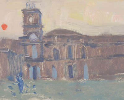38 Scouller Glen Study The Piazza Martina Francaii Oilonpanel 15X36 1200
