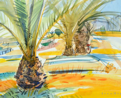 40 Scouller Glen Boatsand Palms Santa Luzia Watercolour 41X53 1250