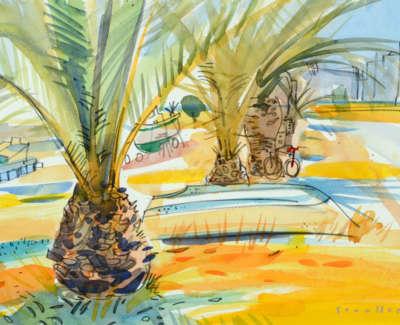 40 Scouller Glen Boatsand Palms Santa Luzia Watercolour 41X53 1250