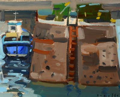 45 Scouller Glen Harbour Wall Boat Oilandpanel 23X30 1100