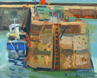 46 Scouller Glen Harbour Wall Lobster Pots East Neuk Oilonpanel 23X30 1100
