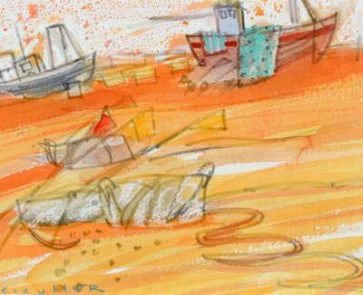 51 Scouller Glen Fishing Boats Hastings Watercolour 14X18 500