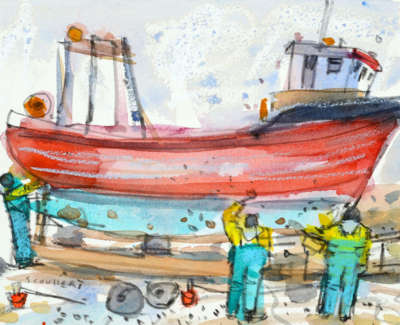 56 Scouller Glen Cleaningthe Boat St Abbs Watercolour 16X20 600