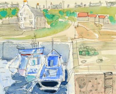 57 Scouller Glen The Harbour St  Abbs Watercolour 16X20 600