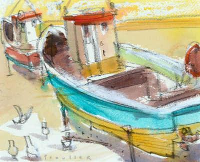 59 Scouller Glen Boatsand Seagulls St Abbs Watercolour 16X20 600