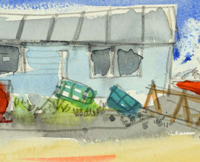 60 Scouller Glen Fishermens Huts St  Monans Watercolour 10X36 450