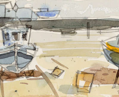 62 Scouller Glen Slipway St Monans Watercolour 10X36 450